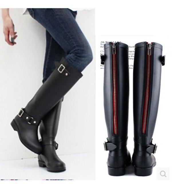 2016 Karet Tinggi Sepatu Ritsleting Merah Kuda Naik Gumboots Wellies Rainboots Wanita Rain Boots Botte De Pluie Stivali Donna
