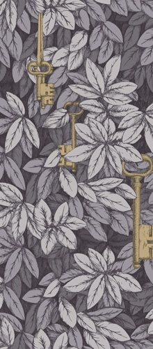 Fornasetti II Chiavi Segrete, metalic keys hiding in leaves, wallpaper in grey and gold. By Cole & Son.