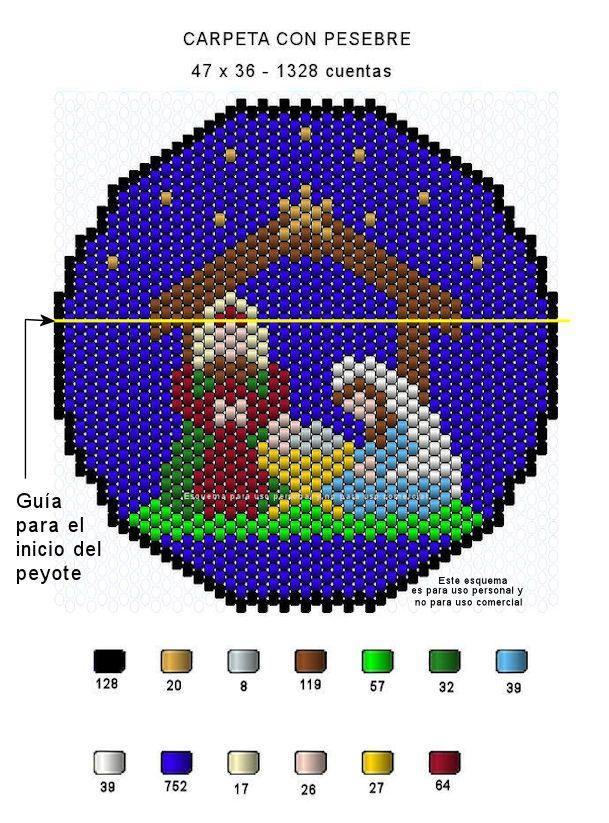 Con el fin de que puedan tener un recuerdo navideño en punto peyote, acá les dejo dos esquemas que bien pueden usarlos como carpetas o si prefieren, los pueden montar sobre un retablo para que los …