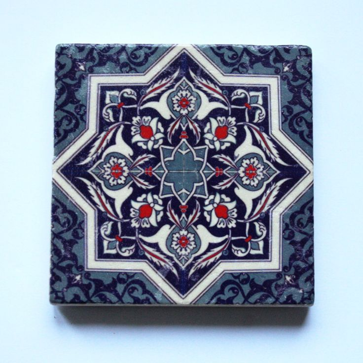 Turkish Seljuk Tile Design Natural Stone Coaster