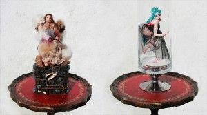 She Never Married, Saucer of Milk for You www.elenaduff.com  sculpture mixed media diorama box miniature polymer clay