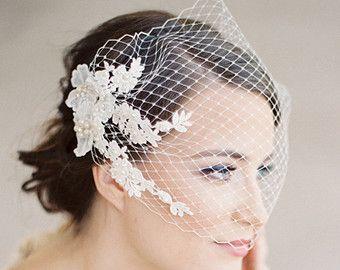 Voile de mariée birdcage bustier, dentelle Ivoire avec perles et de cristaux, voile de bandeau, de mariage Style 628