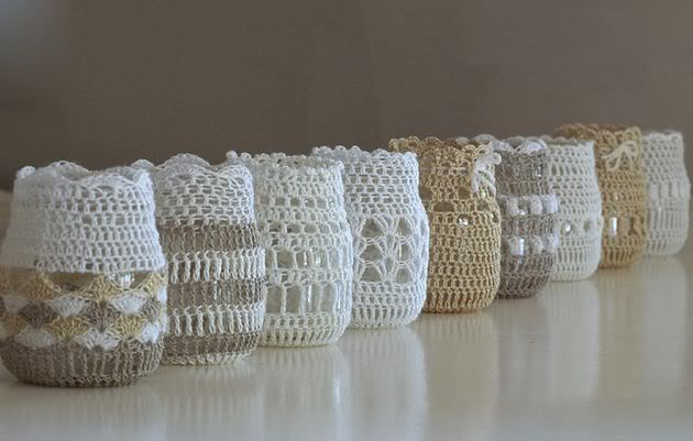 Crochet cover for old jars.  - Under The Table and Dreaming: 50 Ways to Re-purpose and Reuse Glass Jars