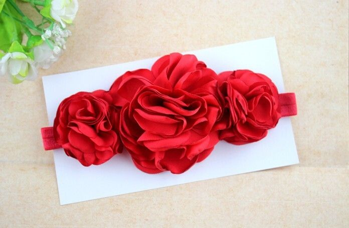 #BELLAZAARA TRIPLE #SATIN ROSE PEONY #LAYERED BURNT EDGE #RED FLOWER #HEADBAND