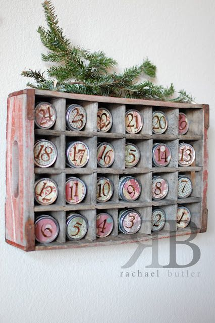 Advent calendar from coke crate