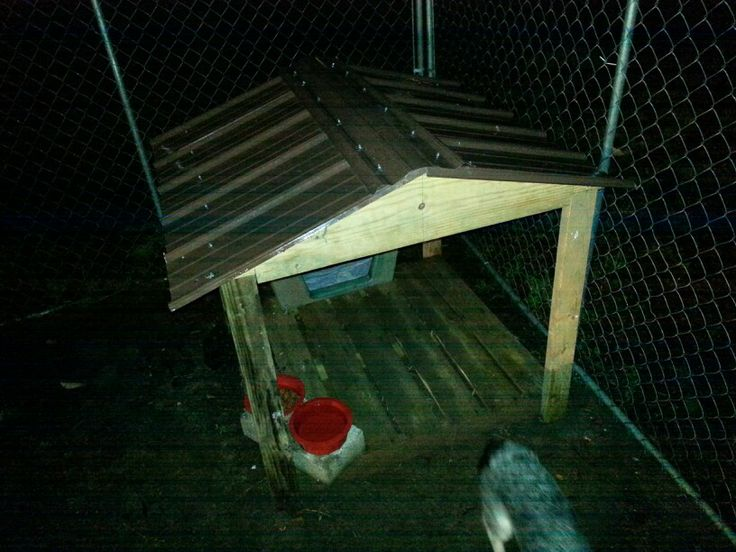 Porch for dog house.  Keeps Copper's food dry.