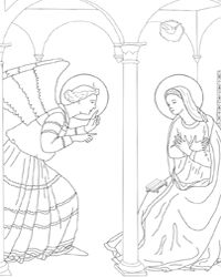 Colouring pages for all  the mysteries of the rosary as well as the stations of the cross can be found here