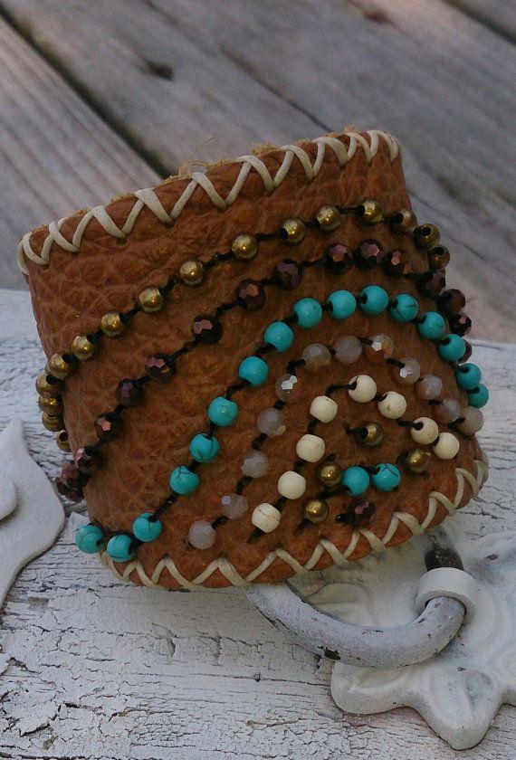 Cowgirl, Wester, Southwestern Beaded Leather Cuff Bracelet, $39.99 FREE SHIPPING  www.etsy.com/shop/secretstashboutique