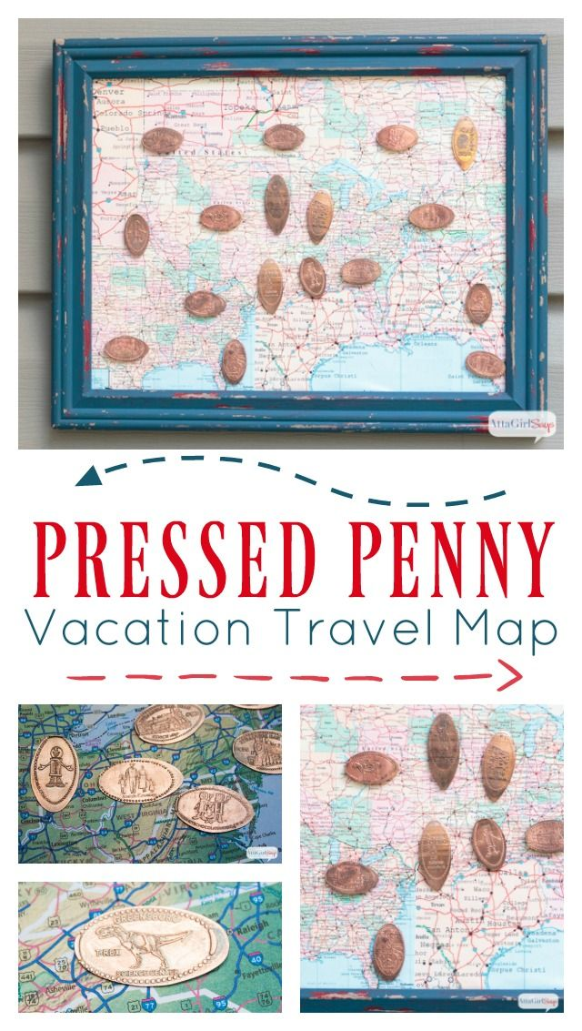 Skip the junky, overpriced kids' vacation souvenirs and start a pressed penny collection. Kids will enjoy making and collecting the pressed pennies on your family travels, and they can showcase their collection in this DIY map shadowbox.