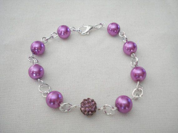 Purple pearl bracelet Pearl bracelet Bridesmaid bracelet by Poppyg