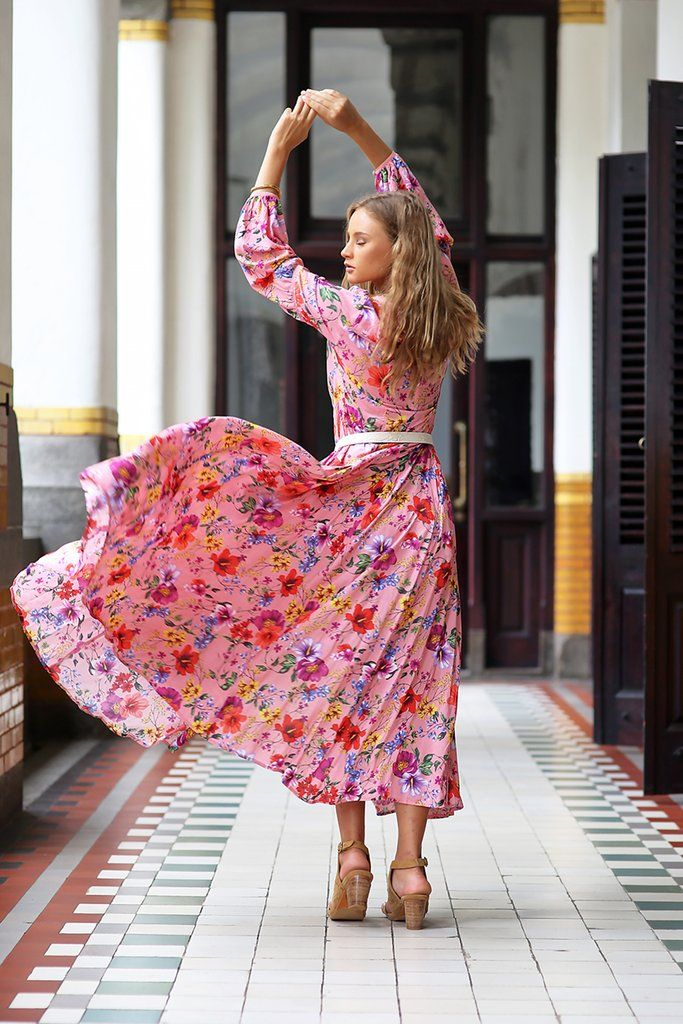 2593bf0ef72 The Gypsy Queen Maxi Dress - Pink Blossom