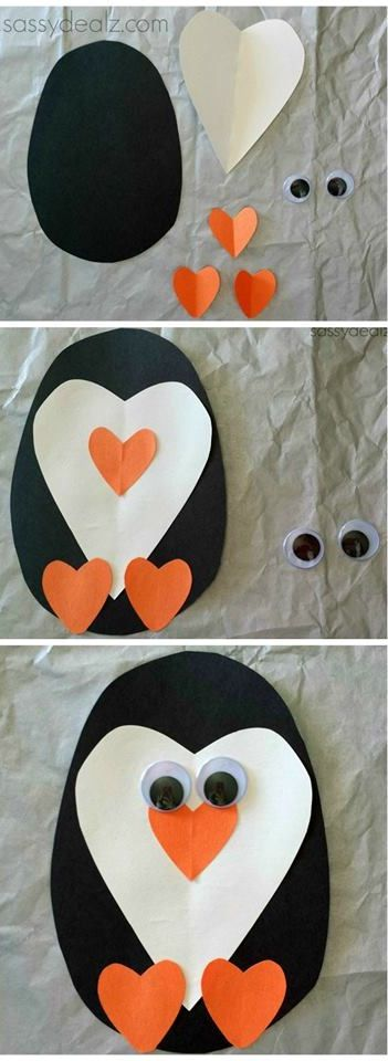 Penguin and heart craft
