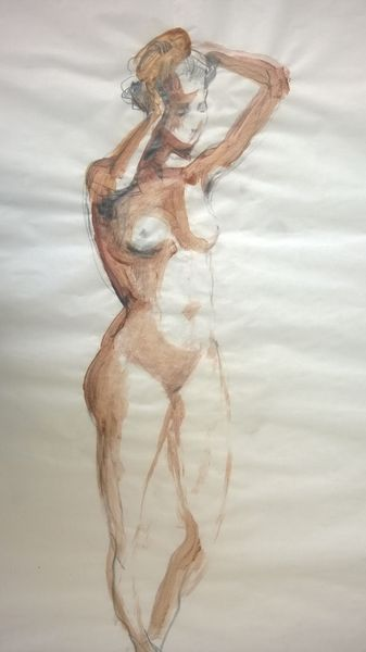 Drawing of washing hairs woman by Michał Zaborowski, 100x70cm.