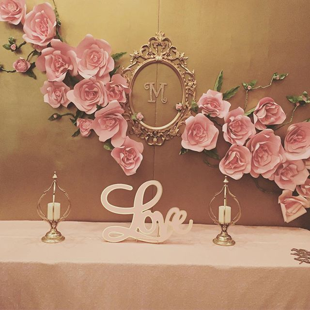 Custom made Backdrop with garden #roses @ellenarievents (818)249-7980 #rental #gold #pink #bridalshower #events #birthday #backdrop #handmade