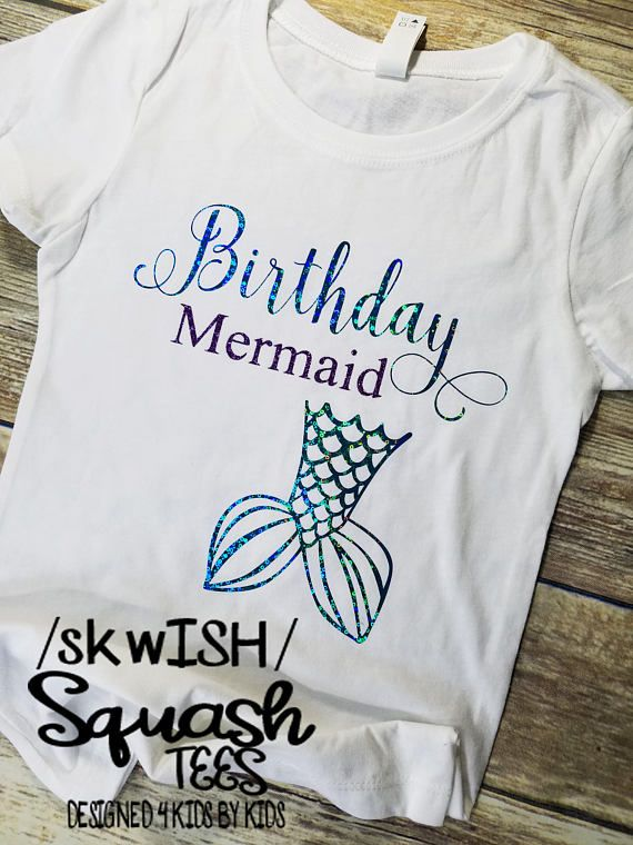 Birthday Mermaid Shirt Little Girls Themed Party Kids Boutique Clothing Graphic Tees In 2019