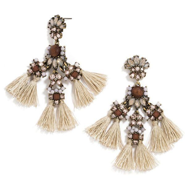 BaubleBar Falcon Drops ($36) ❤ liked on Polyvore featuring jewelry, earrings, tassel jewelry, wood earrings, wooden earrings, wooden jewelry and tassel earrings