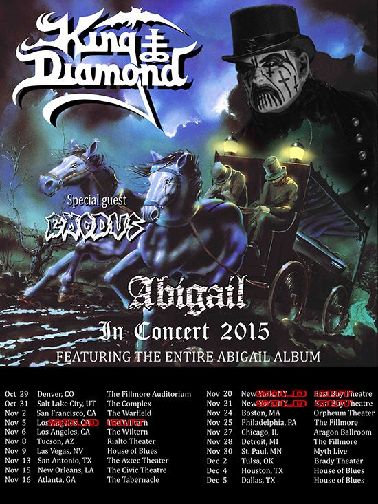 """KING DIAMOND to film feature length video on the """"Abigail In Concert 2015"""" tour for blu-ray / DVD release"""