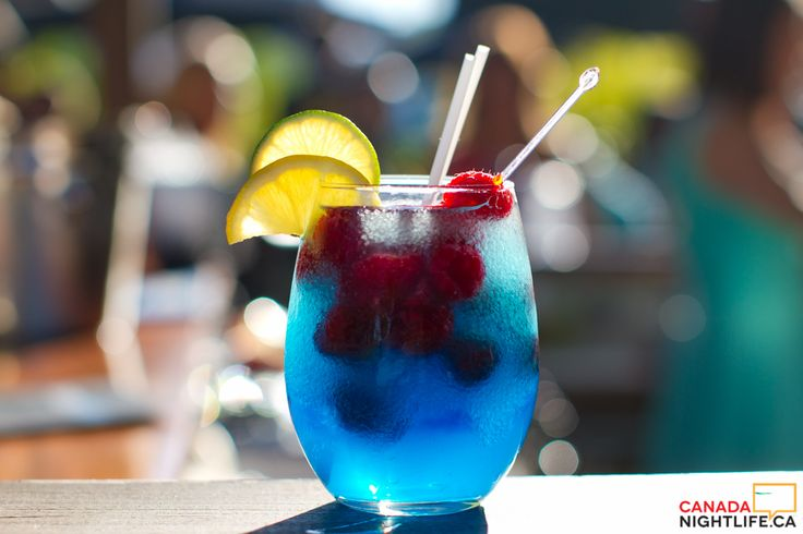 Raspberry blue slush with vodka