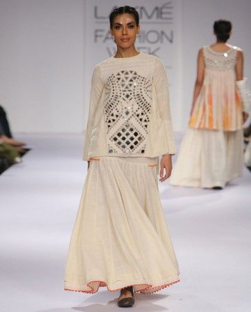 Pearl White Dress with Mirror Work Short Top by Purvi Doshi Shop Now: http://bit.ly/purvidoshilfw14