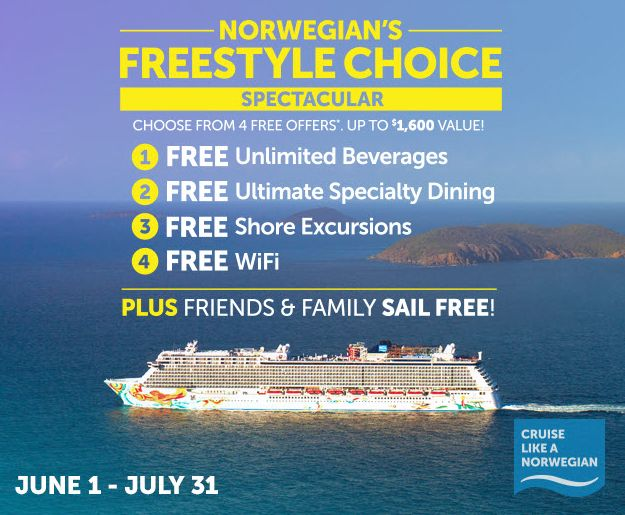 Cruise‬ ‪‎Norwegian‬ & select 1 of these ‪‎FREE Offers! #‎bookjetset‬ 855-884-1381