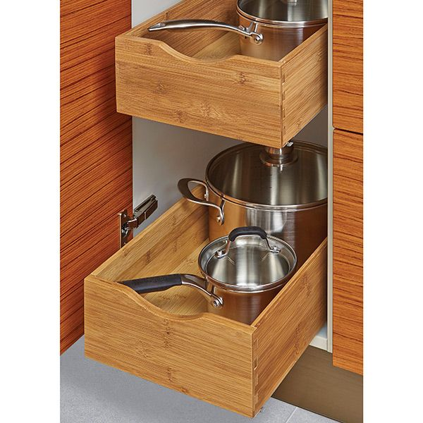Our Bamboo Roll-Out Cabinet Drawers bring the contents of your lower cabinets front and center without the expense of costly built-ins.