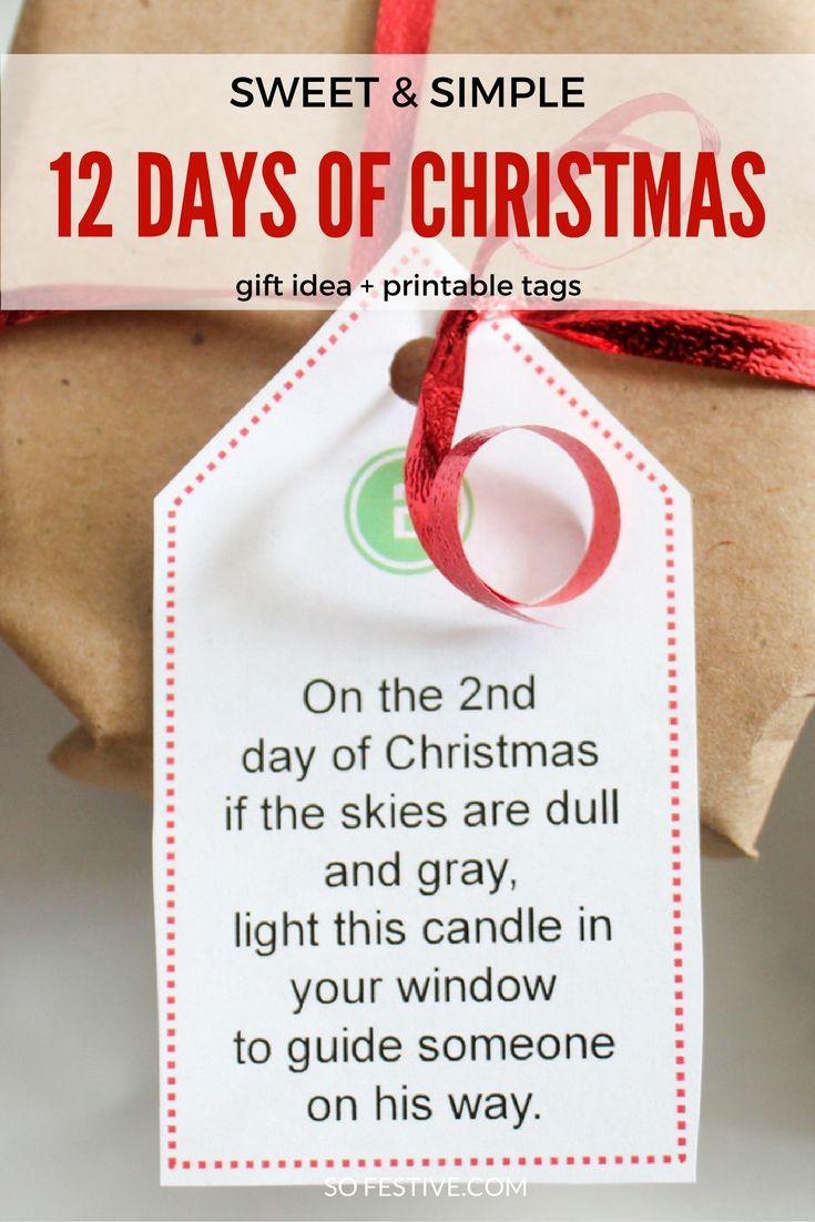 Super Easy 12 Days of Christmas idea with printable poem tags. Get all the gifts at the dollar or grocery store!