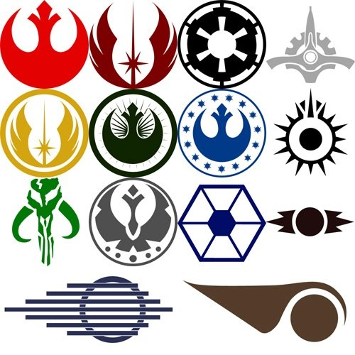 1 Rebel Alliance; 2 Old Jedi Order; 3 Galactic Empire; 4 Galactic Senate; 5 Old Galactic Republic; 6 Legacy Era; 7 New Galactic Repubic; 8 Black Sun Crime Syndicate; 9 Mandalorian; 10 Galactic Alliance Army; 11 Separatist  12 Sith Order; 13 Luke Skywalker X-Wing Pilot; 14 X-Wing Pilot Sign