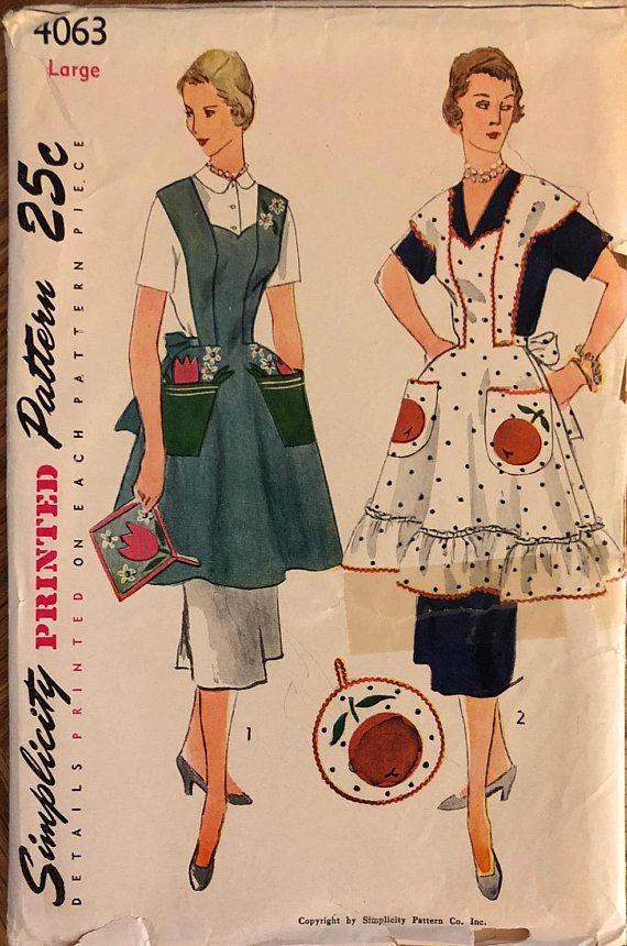 Rare Vtg 4063 Simplicity 1952 Misses Aprons Pot Vintage Apron Pattern Aprons Patterns Aprons Vintage