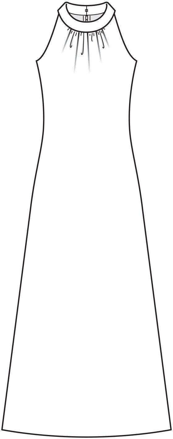 Платье с американской проймой - выкройка № 8 из журнала 1/2015 Burda. Винтаж – выкройки платьев на Burdastyle.ru