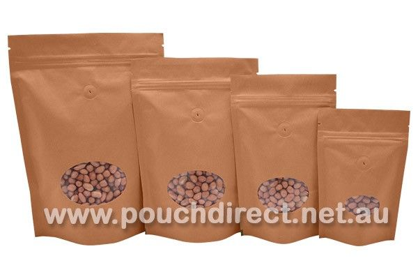 KRAFT PAPER BAG - STAND UP COFFEE BAGS WITH OVAL WINDOW & VALVE