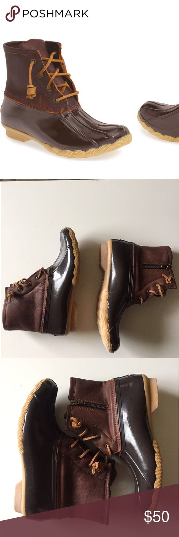 Sperry saltwater duck boots NWOT size 6 Sperry duck boots color brown new condition .Has some white spots as seen on the last picture Sperry Shoes Winter & Rain Boots