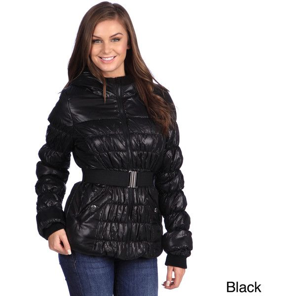 White Mark Women's Puffer Coat ($39) ❤ liked on Polyvore featuring outerwear, coats, black, fur-lined coats, white mark, puffer coat, puffy coat and hooded coat
