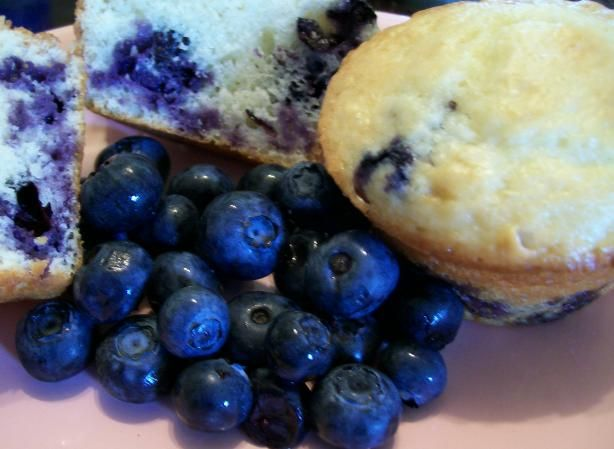 Sour Cream Blueberry Muffins from Food.com:   This quick mix uses baking mix (such as Bisquick) and mixes up very quick.  My boys think this is a great Saturday morning breakfast especially when the blueberries start to come in the garden.