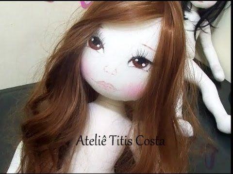 Como colocar cabelo sintético em boneca de pano e como traçar um rosto p...