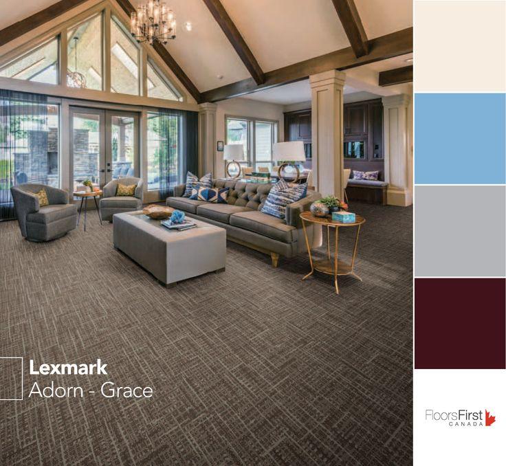Adorn from Lexmark Carpet.  #flooring #design #decor #home #renovation #white #grey #blue #powder #livingroom #familyroom #lobby #bedroom #interiordesign #carpet #colours #color #pallette