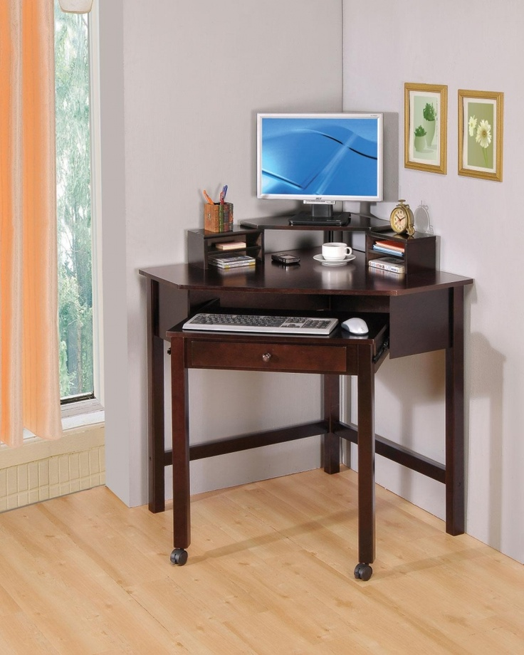 coaster small corner wood computer desk with 1 drawer roller 249