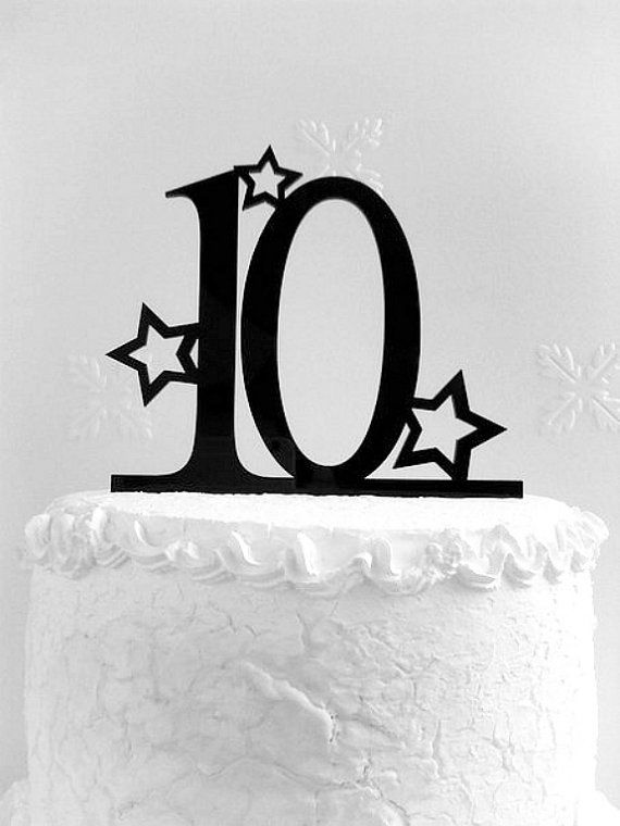 10th Birthday Cake Topper 10th Anniversary   Tenth Birthday
