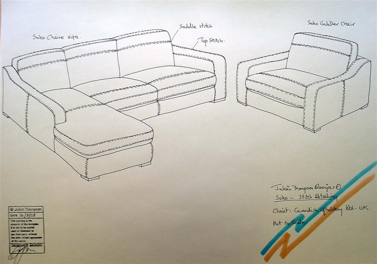 Soho sketches showing requested leather sew lines for the leather cut & sew supplier.