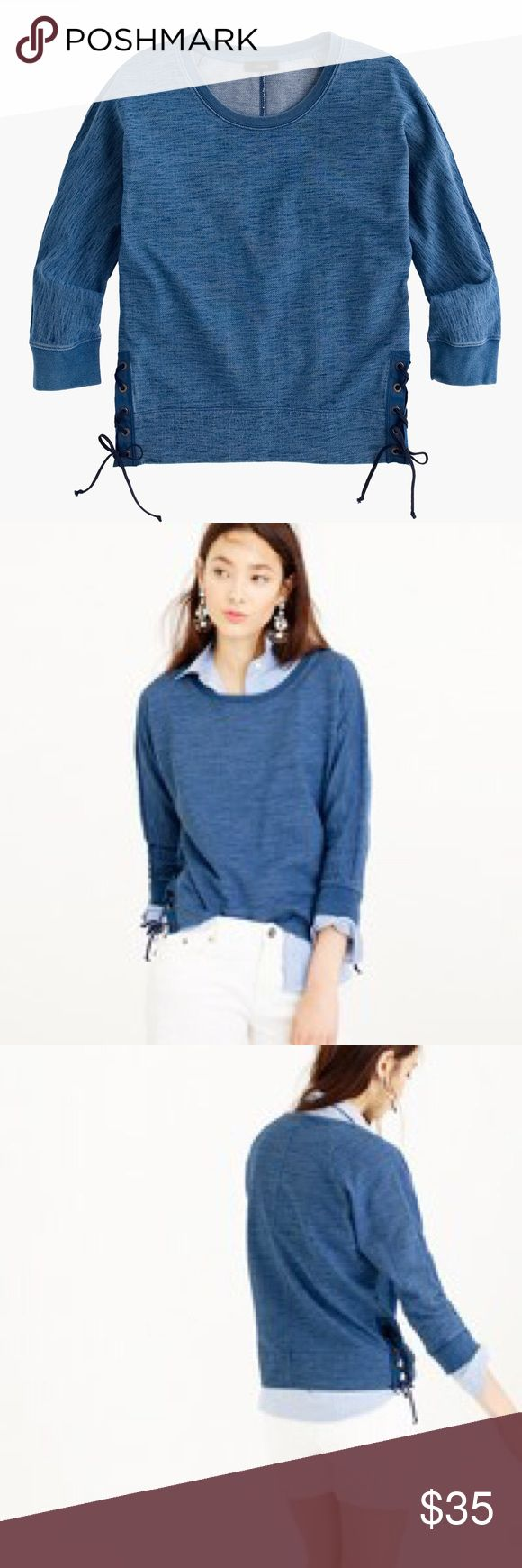 J. Crew Lace Up Sweatshirt size large Meet Kyla. We don't think an easy layering piece has to be basic. And this lovely lady is anything but basic. She's a lightweight sweatshirt dyed in indigo, giving her a mélange effect (those high/low hues). Her lace-up grommets on the side make her more out-to-dinner-wear than loungewear. Boxy slightly cropped fit, perfect on her own or with a longer tank or tshirt underneath. Sure to be a Spring favorite of yours. Size large. (L4) Offers warmly…