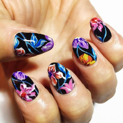 Who says florals can't be edgy? Nail pro Naomi Yasuda created a nighttime garden mani inspired by Kenzo, the perfect nail look for summer nights on the town.