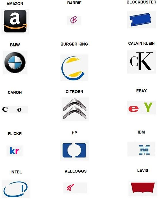 The original and first Logo Quiz for iPhone by Aticod. This is some of level one, go to the site to see all the answers