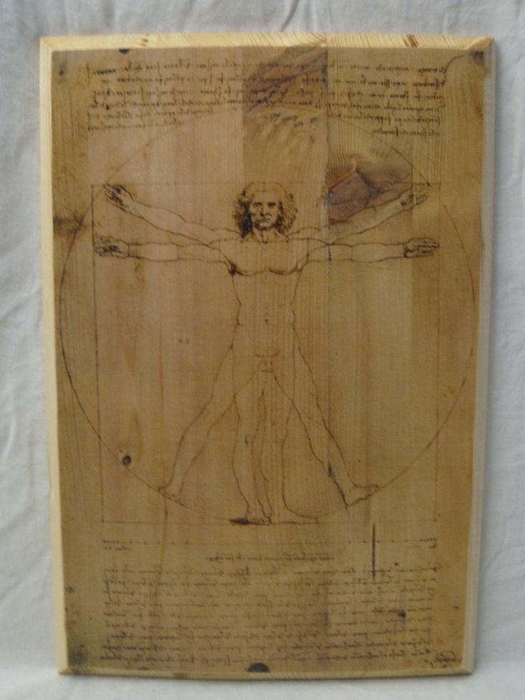VITRUVIAN MAN, wood board, wood wall art, Handmade wood print. Home decor, Renaissance Art di KnockOnWoodCraft su Etsy