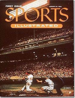 The first issue of Sports Illustrated, August 16, 1954, Eddie Mathews at bat, Giants catcher, Wes Westrum behind the plate