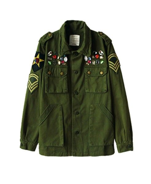 Badge Patch Camouflage Jackets with Embellishment Detail