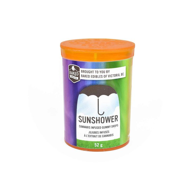 """Baked Edibles – Sunshower Gummies """"The Best Cannabis Edible available in Canada."""" """"We built Sunshower as a premium product, centered on the same ingredients that we used when we were working for the world's best pastry shops. Sunshower aren't just your regular supermarket gummies-Sunshower is a premium product that could stand toe-to-toe with any high end confection in the world."""" Five flavours: BC Raspberry, BC Blackberry, Green Apple, Mango Tangerine, Pineapple"""