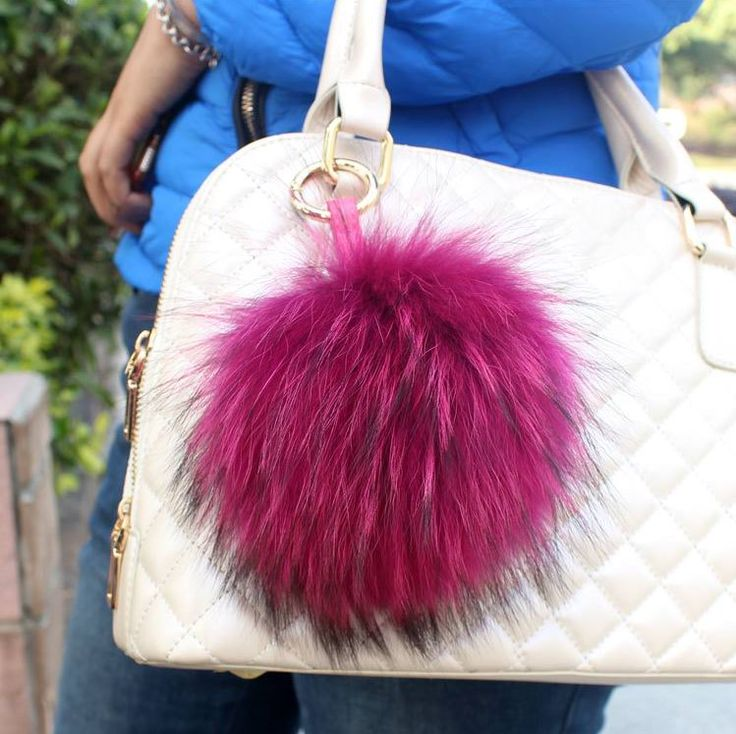 16cm Luxury Fluffy Real Fox Fur Ball Pom Pom Plush Size Genuine Fur Key Chain Keychain Metal Ring Pendant  Bag Charm f390