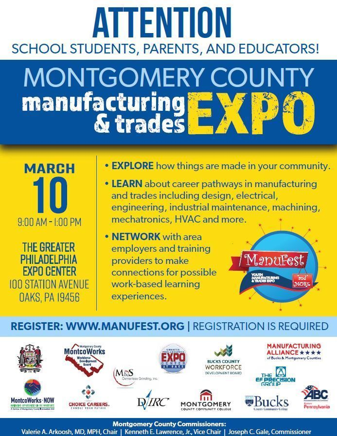 Manufest More 2020 Explore Careers With Area Manufacturers And Trades Students Parents And Educators From Ac Montgomery County Career Pathways Montgomery