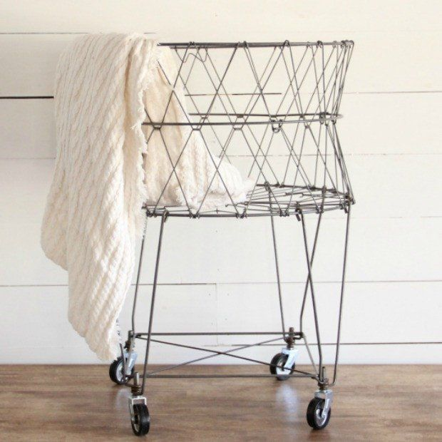 French Wire Collapsible Laundry Basket On Wheels Laundry Basket