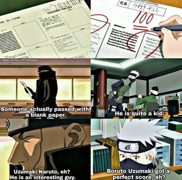 Naruto passed with 0 and Boruto with 100 ❤️❤️❤️