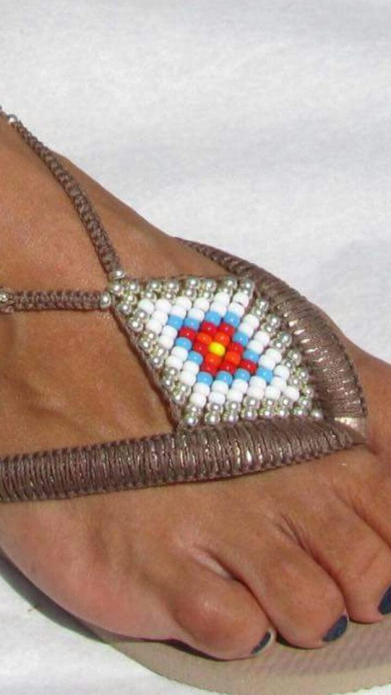 Bohemian Flip Flop Sandals Boho Style, Rose Gold Women Havaianas Sandals, Beaded Foot Jewelry Sandals, Women Anklet Beach Sandals Multi Colored & Silver Decorated Bohemian Flip Flop - 100% Handmade.  You can decorate your hands, ears, neck but also … your feet!  These are an absolutely unique Must Have Flip Flops!!! The combination between style and comfortable at the same pair of sandals.  By decorating I used professional jewelry techniques and the highest quality materials varying from…